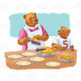 Bear Cutting Pie