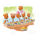 Abeka Clip Art Bears Eating Piewith Mother Bear In Background - Baeras-con-pies