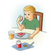 Boy Eating Breakfast orange juice, toast, and jam