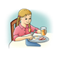 Girl Eating ham and eggs