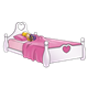 Sleeping Girl in a pink bed