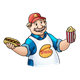 Snack Man holding popcorn and a hot dog