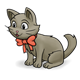 Gray Kitten wearing a red bow