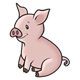 Sitting Pink Pig with a curly tail