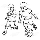 This is an image of Decisive Girl Playing Soccer Drawing