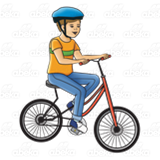 Boy Riding Red Bike