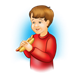 Boy Eating Hot Dog with blue background