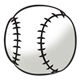 White Baseball with black stitches