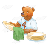 Bear Drying Dishes