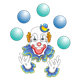 Clown Juggling blue and turquoise balls