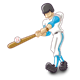 Blue Batter hitting a ball