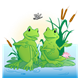 Pond Scene with two conversing green frogs