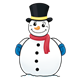 Snowman with a top hat, scarf, and mittens