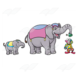 Circus Elephants and Clown