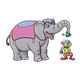Circus Elephant and Clown