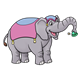 Circus Elephant holding a green hat