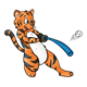 Tiger Playing Baseball with bat and ball