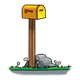 Yellow Mailbox with rocks