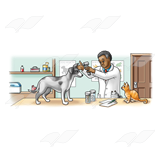 Veterinarian in Office