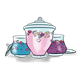 Three Candy Jars with pink, purple, and blue candy