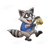 Raccoon with Bell