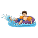 Boy on Inner Tube splashing in water