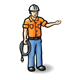Workman with orange shirt