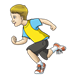 Sprinting Boy in yellow and blue shirt