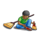 Boy Cleaning with brooms and a dustpan