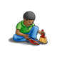Boy Cleaning with hand broom and a dustpan