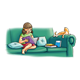 Girl Reading to Cat on green couch