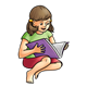Girl Reading Book purple