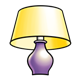 Purple Lamp with yellow shade