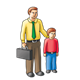 Father and Son with suitcase, briefcase