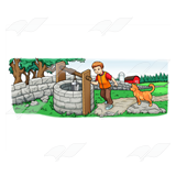 Boy at a Stone Well Scene