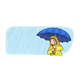 Girl in Rain with blue umbrella and yellow raincoat