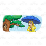 Girl in Rain by a Tree