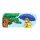 Girl in Rain by a Tree with blue umbrella and yellow raincoat