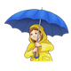 Ready for Rain girl with blue umbrella and yellow raincoat