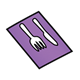 Purple Napkin with fork and knife