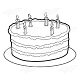 Cake And Candles White No Clipart Black Birthday