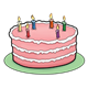 Pink Birthday Cake with six candles