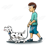 Boy Walking Dalmatian