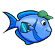 Blue Fish with green hat and lunchbox