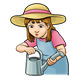Girl with Watering Can in straw hat