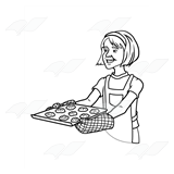 Lady with Red Oven Mitts