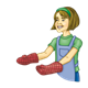 Lady with Red Oven Mitts wearing an apron