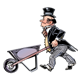 Man in Suit with an empty wheelbarrow