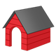 Red Doghouse with black roof