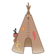 Tepee with Open Door child peering from behind